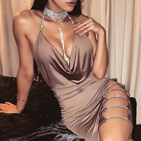 Sexy Women's Bandage Evening Party V Neck Club Necklace Short Mini Dress - Moolokai Apparel