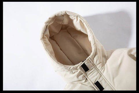 Mens Winter Thick Warm Cotton Padded Baseball Outwear Casual Solid Color Hooded Jacket