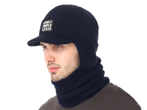 Winter Hat Scarf Skullies Men Knitted Mask Thick Balaclava Earflap Wool Bonnet Beanie Hat