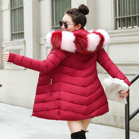 Winter Hooded With Fur Warm Thicken Outwear Female Parkas Jacket - Moolokai Apparel