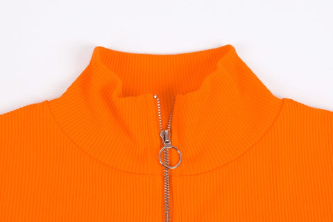 Zipper Standing Collar Long Sleeve Slim Casual Solid Female Top