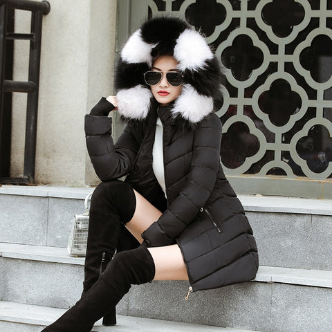 Winter Hooded With Fur Warm Thicken Outwear Female Parkas Jacket