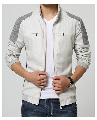 Men Jacket Spring Autumn Cotton Linen Jaqueta Masculino Casual Men Coats Slim Fit