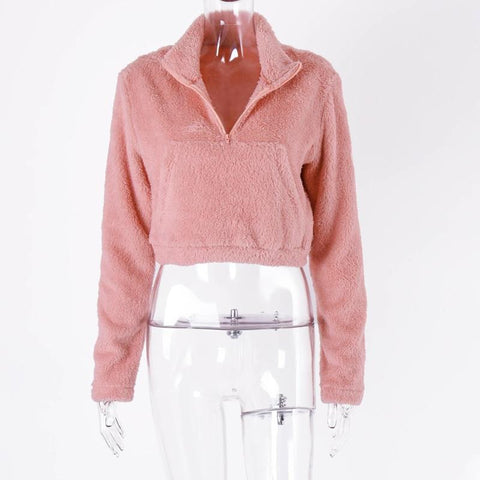 Long Sleeve Zipper Pocket Patchwork Faux Lambswool Autumn Winter Crop top Jacket