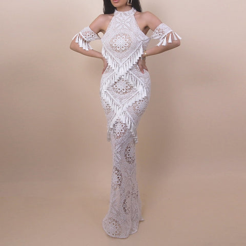 Tassel Sexy Long Women Off Shoulder Party Maxi Fashion White Lace Clubwear Dress - Moolokai Apparel