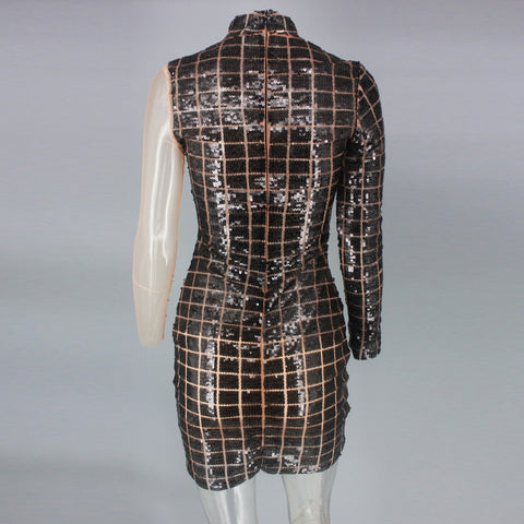 One Shoulder Plaid Sequin Party Women Hollow Out Sexy Turtlenck Mini Autumn Dress