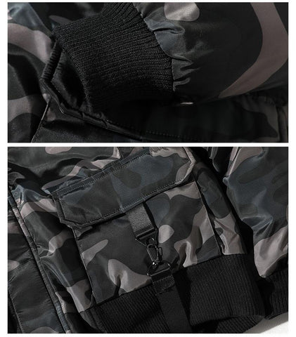 Streetwear Camouflage Thicken Hooded Casual Hip Hop Ribbons Male Outerwear Jacket