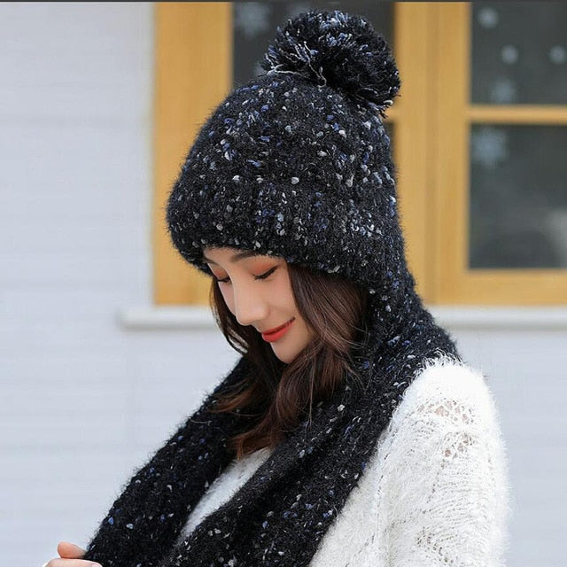 Women's Scarf and Hat 2pcs Warm Knit Hat Thick Knit Skull Cap Plus Velvet Thicken Beanie Cap - Moolokai Apparel