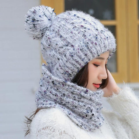 Women's Scarf and Hat 2pcs Warm Knit Hat Thick Knit Skull Cap Plus Velvet Thicken Beanie Cap