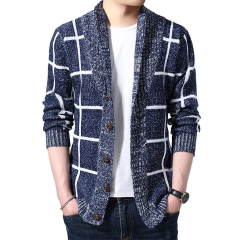 Men Plaid Cardigan Autumn Knitted Sweater Coats Knitting Jumper Slim Fit - Moolokai Apparel