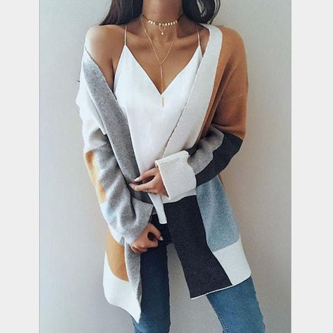 Casual Patchwork Long Pocket Knitting Outwear Autumn Long Sleeve Cardigan Sweater