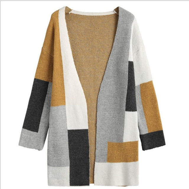 Casual Patchwork Long Pocket Knitting Outwear Autumn Long Sleeve Cardigan Sweater - Moolokai Apparel