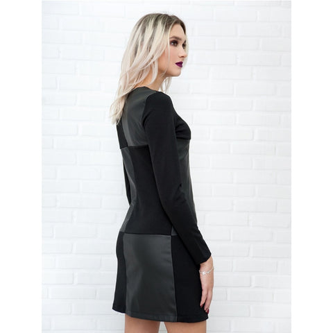 Vintage Leather Patchwork Elegant Office Dress Long Sleeve O neck Solid Casual Mini Dress