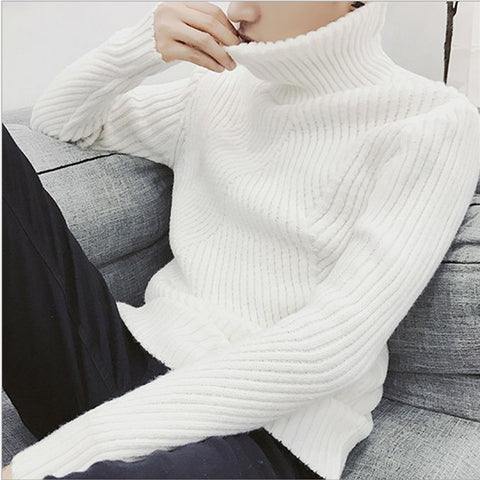 White Black Men Pullovers Winter Thicken Cashmere Knitted Jumpers Turtleneck Sweater
