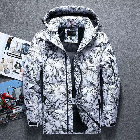 Hooded Parkas Mens Down Coat White Duck Down Parkas Winter Snow Down Thick Jacket