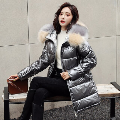 Fur Collar Down Mid-Length Silver Down Warm Colorful Hooded Jacket