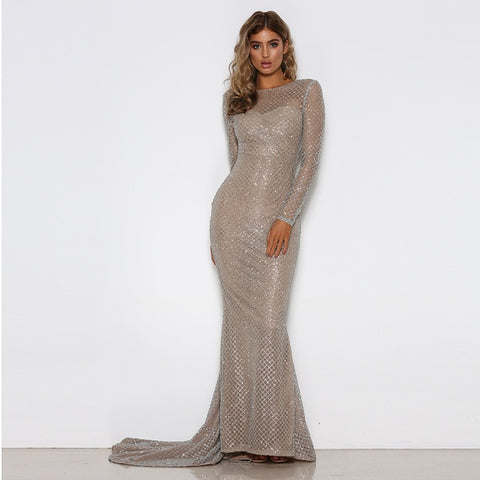 Silver Gold Plaid O Neck Party Maxi Glitter Hollow Out Full Sleeved Floor Length Elegant Night Dress