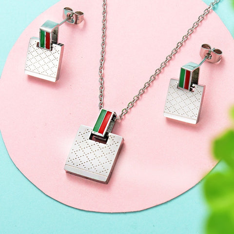 Necklaces and Earrings Jewelry Set Women Girls Brand Stainless Steel Wedding Gift