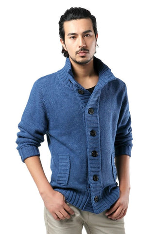 Knitted Sweater Men V-Neck Solid Thick Knitting Cardigan AutumnCasual Lapel Button Top