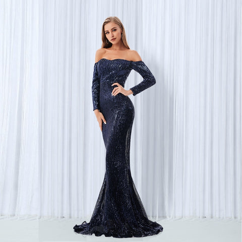 Elegant Slash Neck Sequined Maxi Off the Shoulder Gold Navy Green Sequin Long Dress