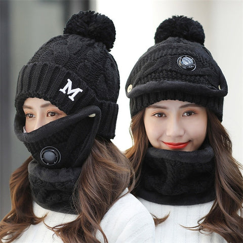 Winter Cycling Women 3 piece Warm Wool Beanies With Mask Collar Bib Female Velvet Cap