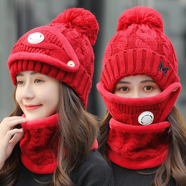 Winter Cycling Women 3 piece Warm Wool Beanies With Mask Collar Bib Female Velvet Cap - Moolokai Apparel