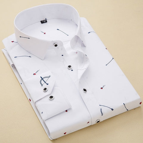 Slim Fit Casual Print Social Long Sleeve New Design Male Camisas Masculina Dress Shirt