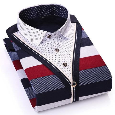 Striped Casual Long Sleeve Slim Fit Fake Two Pieces Winter Polka Dot Velvet Thick Dress Shirt - Moolokai Apparel