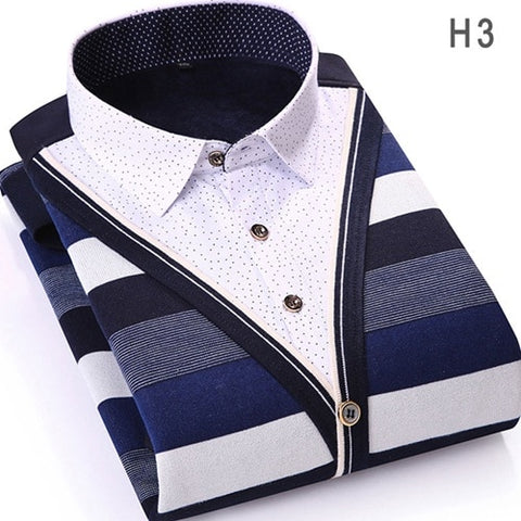 Striped Casual Long Sleeve Slim Fit Fake Two Pieces Winter Polka Dot Velvet Thick Dress Shirt