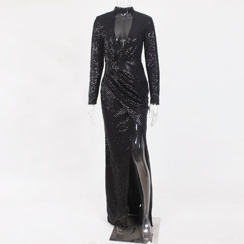 Sexy Hollow Out Halter Sequined Full Sleeved Deep V Neck Split Leg Long Dress