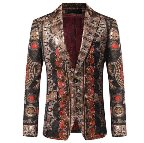 Gold Jacquard Slim Fit Masculino Winter Mens Club DJ Blazer Jacket Stage Clothes