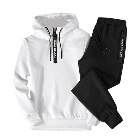 2PC Hoodies Men Spring Autumn Fleece Liner Hooded Sweatshirts + Sweatpants - Moolokai Apparel