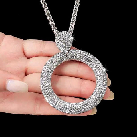 Dazzling Full Cubic Zirconia Hollow Round Pendant Long Necklace for Women Statement Maxi Jewelry Accessories - Moolokai Apparel