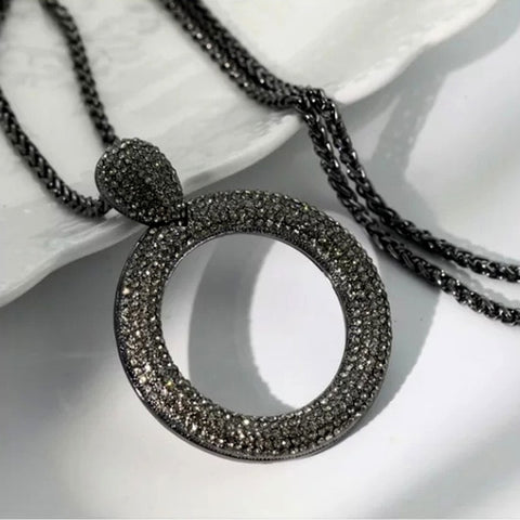 Dazzling Full Cubic Zirconia Hollow Round Pendant Long Necklace for Women Statement Maxi Jewelry Accessories