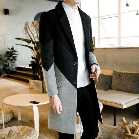 Autumn Winter Trench Coat Male Button Long Sleeve Fitness Clothing Fashion Warm Streetwear