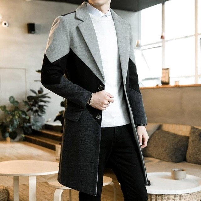 Autumn Winter Trench Coat Male Button Long Sleeve Fitness Clothing Fashion Warm Streetwear - Moolokai Apparel