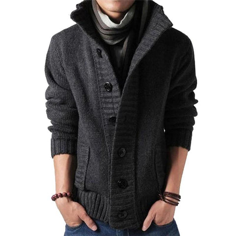 Knitted Sweater Men V-Neck Solid Thick Knitting Cardigan AutumnCasual Lapel Button Top - Moolokai Apparel