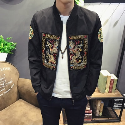 Spring Autumn Bomber Mens Chinese Long Pao Jackets Slim Fit Casual Coats Windbreaker - Moolokai Apparel