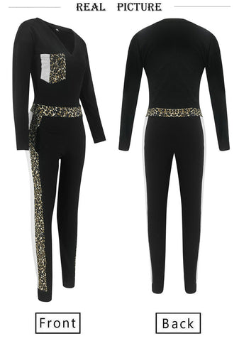 Jumpsuits Women Patchwork Color Matching Design Pockets Decor V-Neck Long Sleeve Leopard Jumpsuit