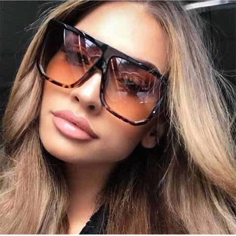 Sexy Square Sunglasses Women Oversized Black Brown Shades Ladies Lunette Oculos - Moolokai Apparel