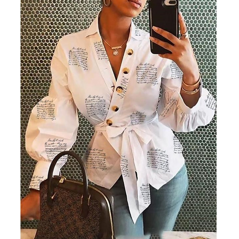 Women Button Blouse Female Clothing Long Sleeve Blusas Casual Office Blouses Print Letter Lady Top - Moolokai Apparel
