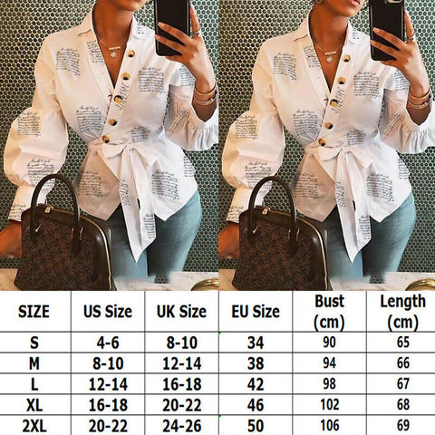 Women Button Blouse Female Clothing Long Sleeve Blusas Casual Office Blouses Print Letter Lady Top