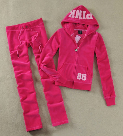 Spring / Fall PINK Women's Brand Velvet fabric Tracksuits Velour suit  and Pants
