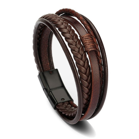 Bracelet Men Multilayer Leather Bangles Magnetic-clasp Cowhide Braided Multi Layer Wrap Trendy Bracelet Armband pulsera hombre