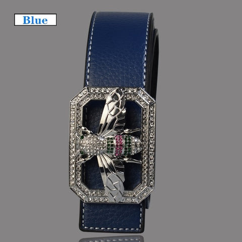 Luxury Brand Shiny Bee Design Buckle High Quality Waist Shaper Leather Belts
