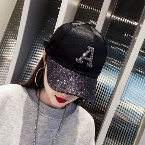 Rhinestone Sequin Letter Baseball Cap Summer Girls Female Snapback Hip Hop Caps Adjustable Sun Hat