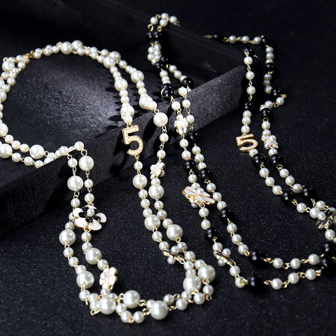 Long Pendants Layered Pearl Necklace Collares de moda Number 5 Flower Party Jewelry