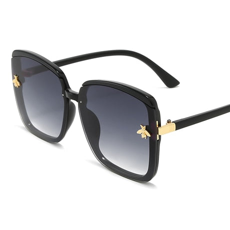 honey bee sunglasses woman vintage retro flat top Thin Shadow sun glasses square Pilot luxury designer large black shades