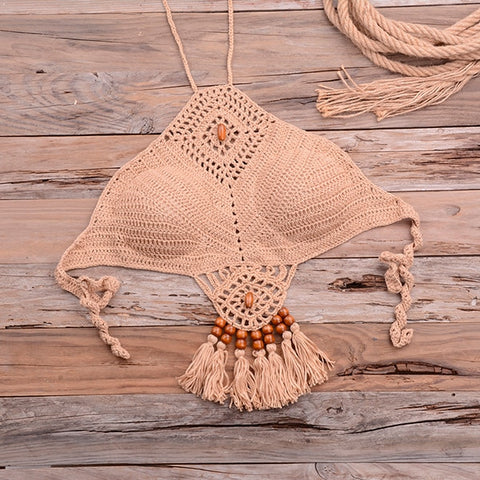 Halter Tie Knitting Bikini New Beach Crochet Swimwear Halter Beaded Tassel Crop Top Brazil Bikini Swimsuit Bathing Suit