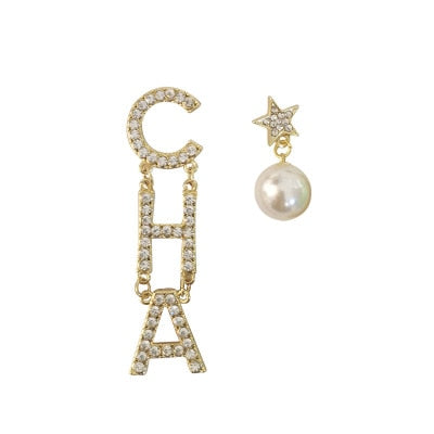 Novelty Alloy Rhinestone CHA Letter Dangle Earrings Crystal Long Tassel Drop Accessories